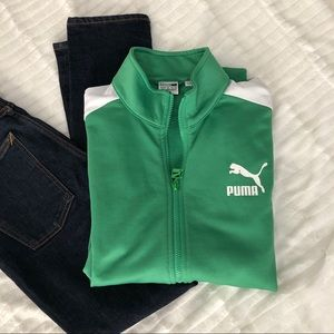Puma Archive Track Jacket In Kelly Green & White